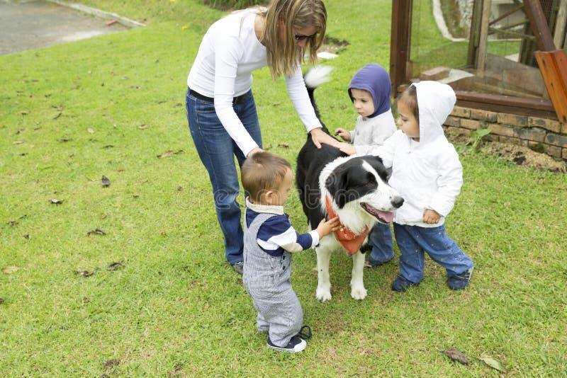 Älskvärd familj som spelar med husdjuret royaltyfri foto