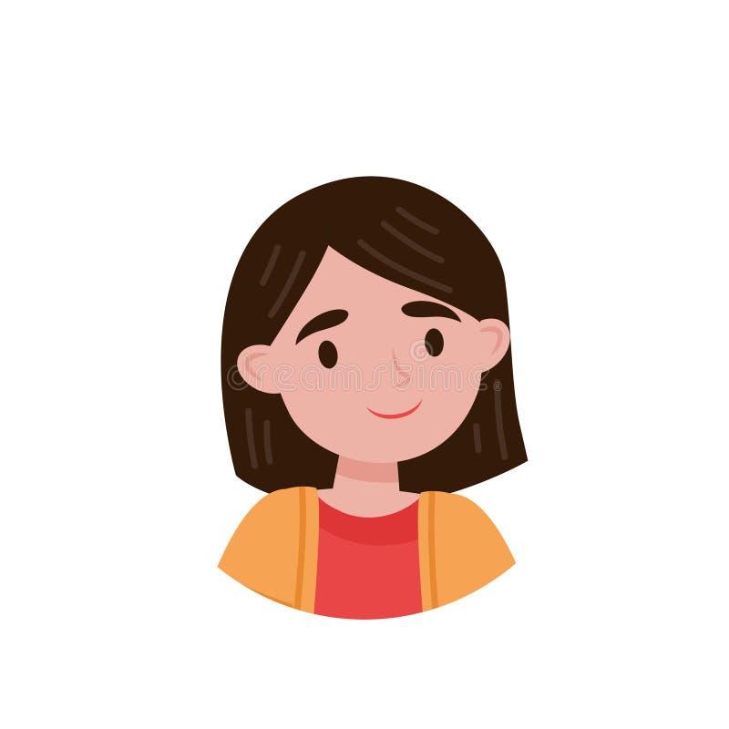 Älskvärd flicka, avatar av den gulliga lilla illustrationen för brunettflickavektor på en vit bakgrund stock illustrationer