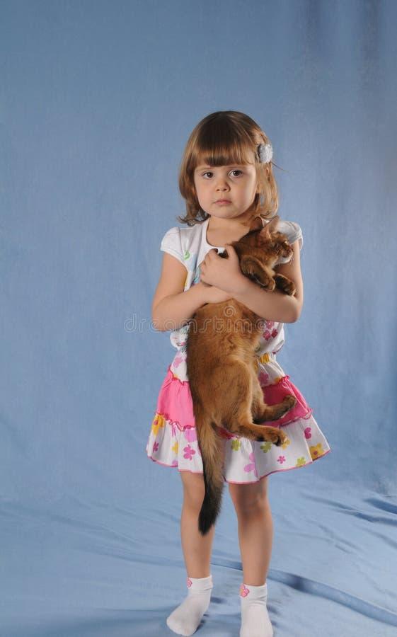 Älskvärd flicka med kattungen i handstående royaltyfria bilder
