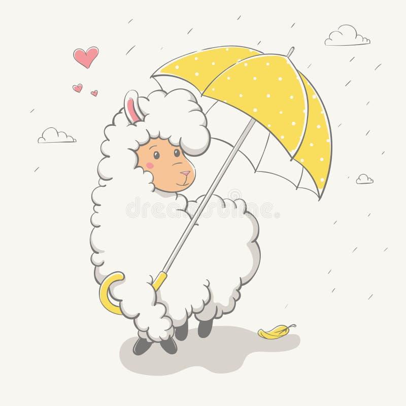 Älskvärd gullig banhoppninglama/guanaco med ett gult paraply med vektor illustrationer