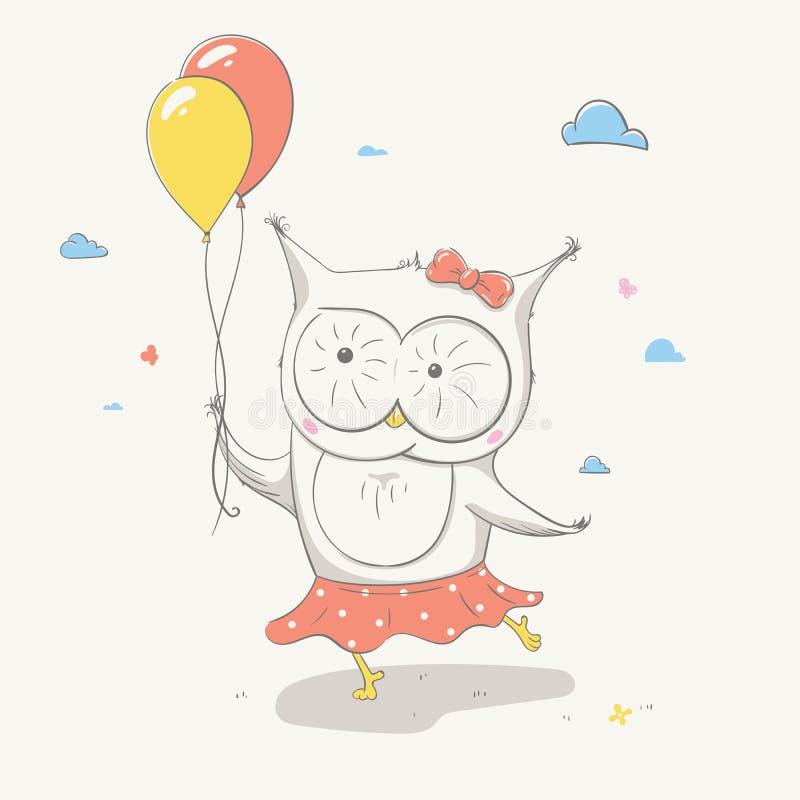Älskvärd gullig liten uggla i en kjol med prickar med två färgrika ballonger Härligt tecknad filmdjur vektor illustrationer