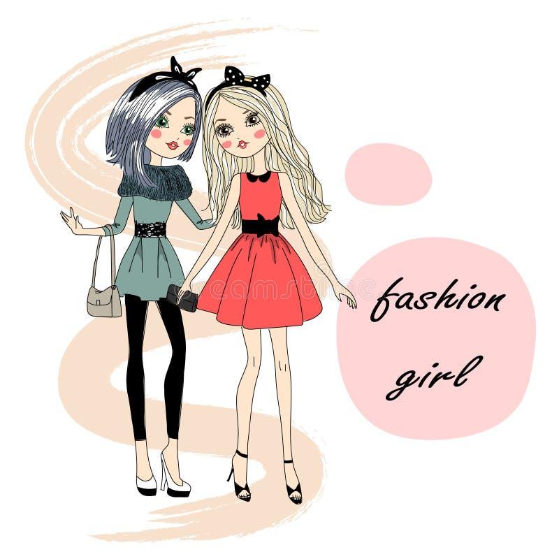 Älskvärd gullig stilfull modeflicka vektor illustrationer