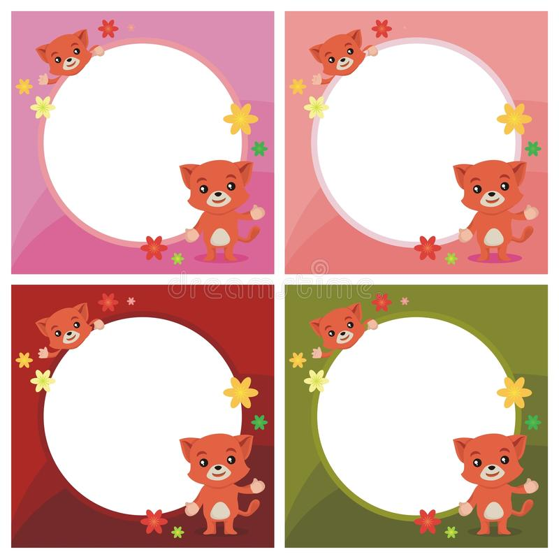 Älskvärd kattvisning något på den tomma cirkeln vektor illustrationer