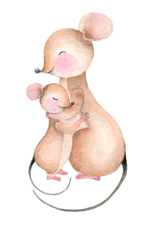Älskvärd kram av musen royaltyfri illustrationer