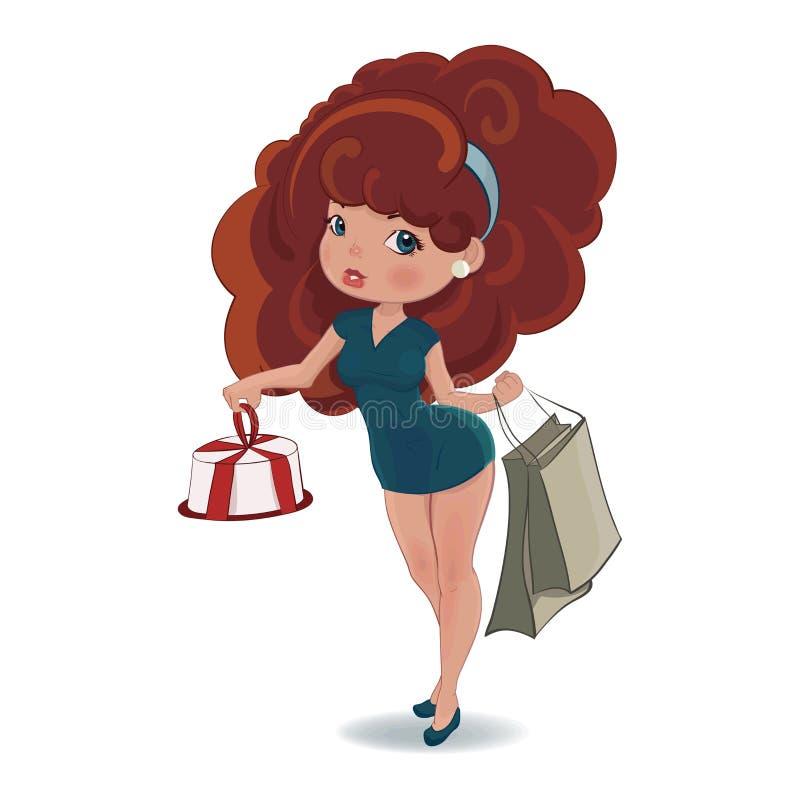 Älskvärd kvinna med den shoppingpåsar och kakan royaltyfri illustrationer