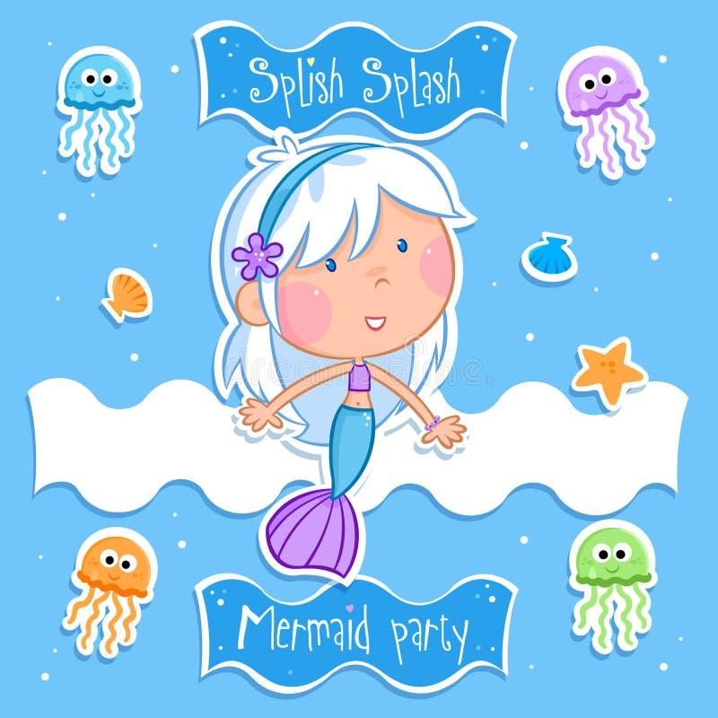 Älskvärd liten sjöjungfru och hennes vänner vektor illustrationer