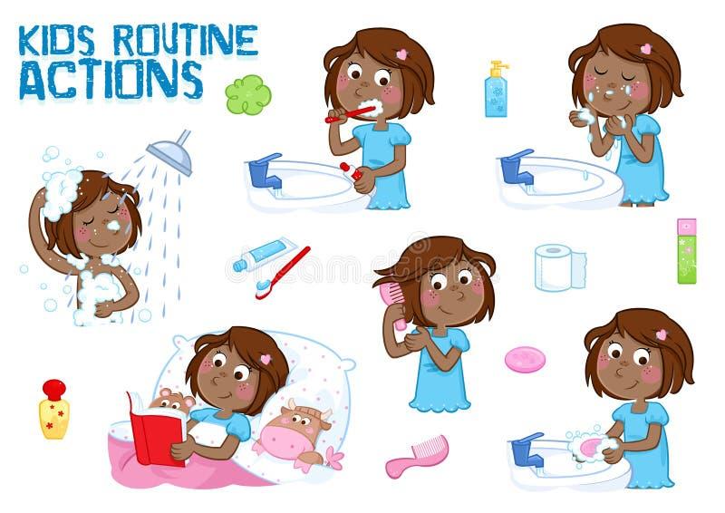 Älskvärd liten svart flicka och hennes dagliga rutinhandlingar - vit bakgrund stock illustrationer