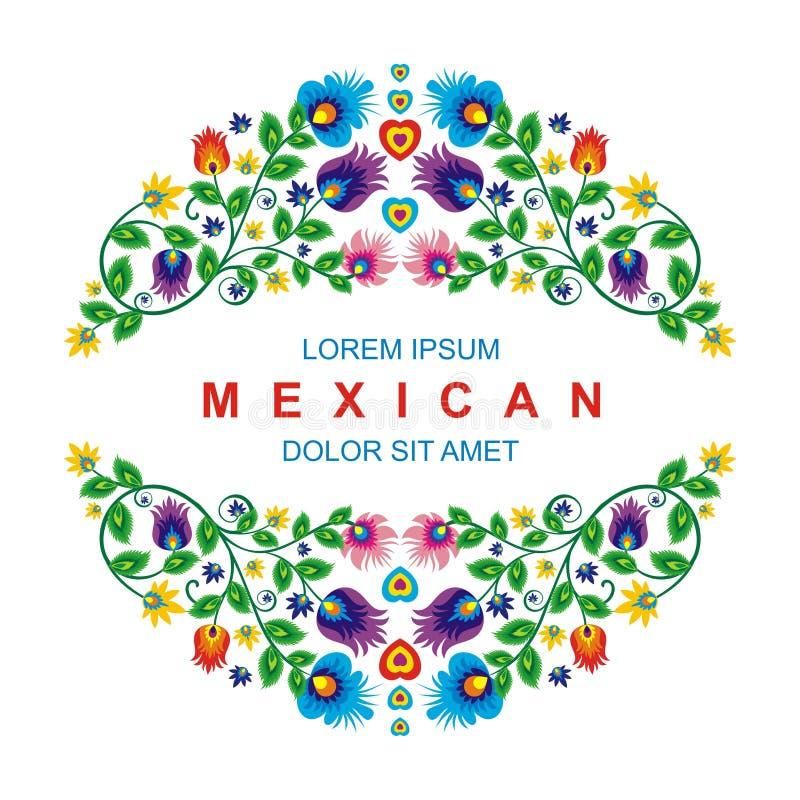 Älskvärd mexicansk etnisk blom- garneringdesign royaltyfri illustrationer