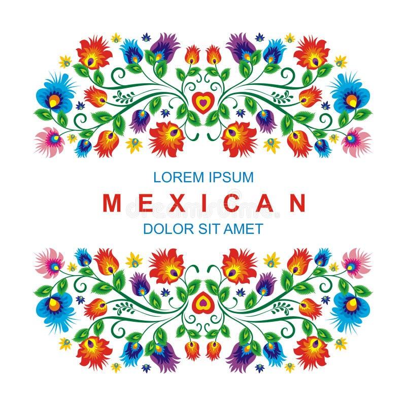 Älskvärd mexicansk etnisk blom- garneringdesign stock illustrationer
