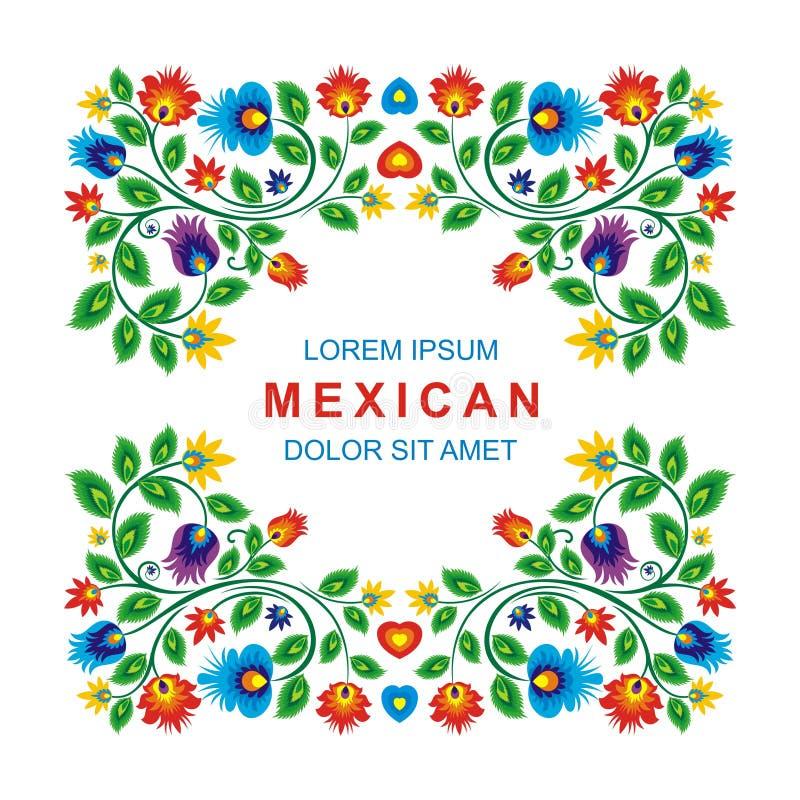 Älskvärd mexicansk etnisk blom- garneringdesign vektor illustrationer