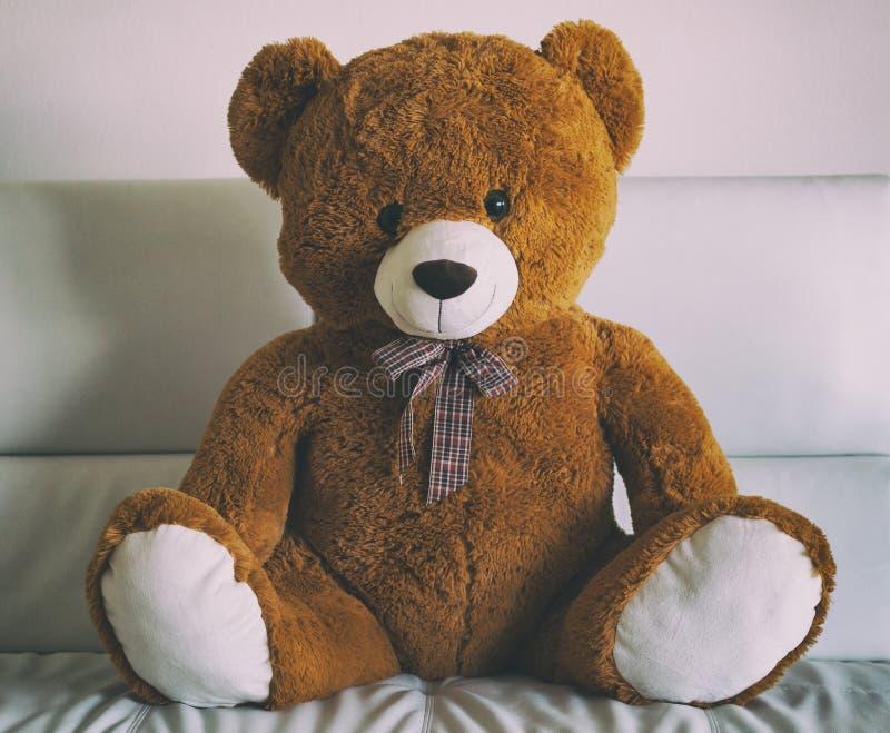 Älskvärd nallebjörn som sitter på en soffa arkivbild