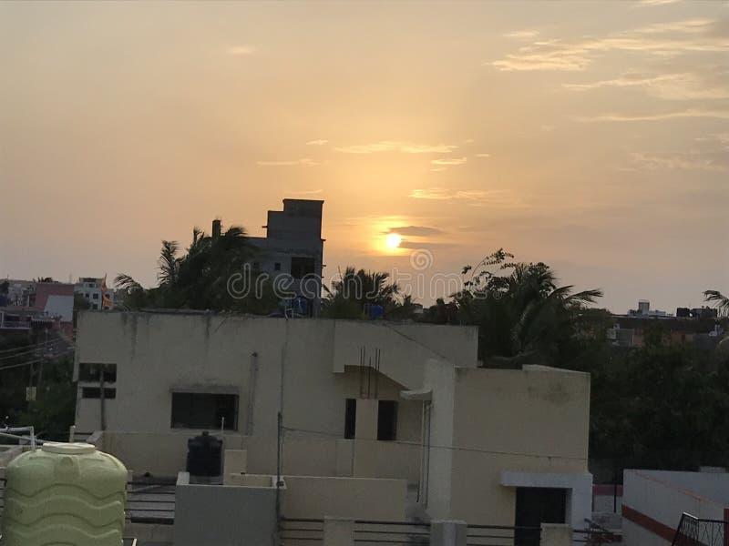 Älskvärd naturlig afton för solnedgång royaltyfria bilder