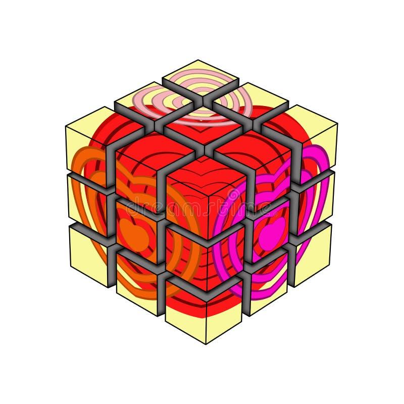 ÄLSKVÄRD RUBIKS-KUB vektor illustrationer