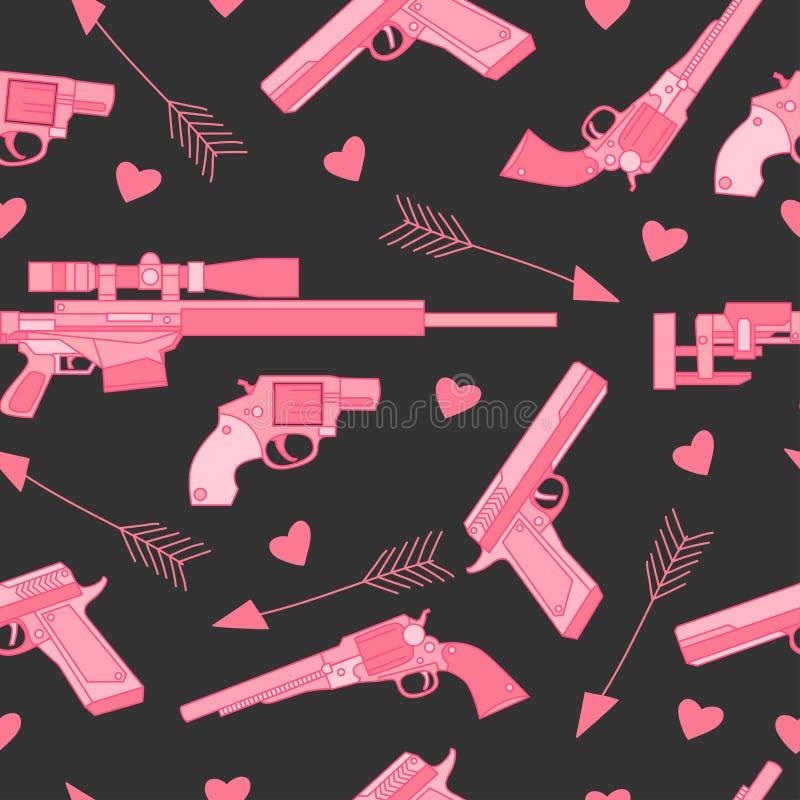 Älskvärd sömlös modell med revolvret, geväret, vapnet, pilen och hjärtor stock illustrationer