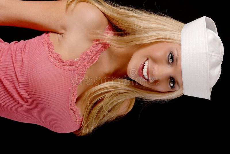 älskvärd sjöman för blond flicka royaltyfria foton