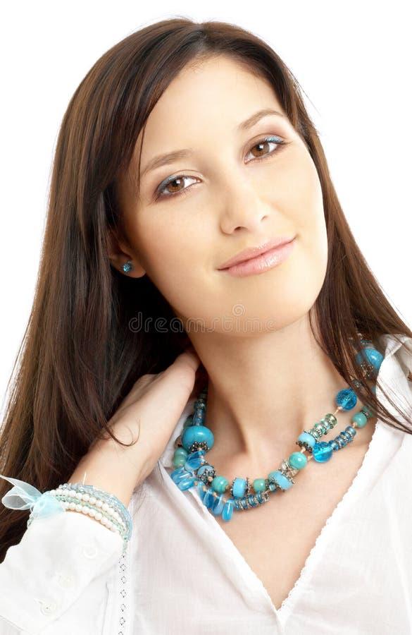 älskvärd skjortawhite för brunett fotografering för bildbyråer