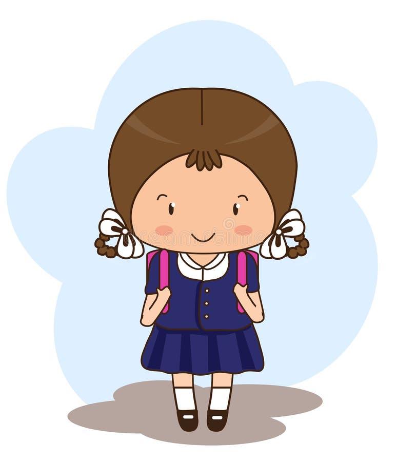 Älskvärd skolflicka med en ryggsäck bak henne vektor illustrationer