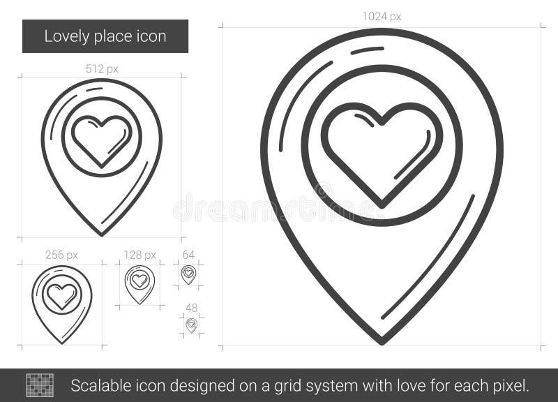 Älskvärd ställelinje symbol royaltyfri illustrationer