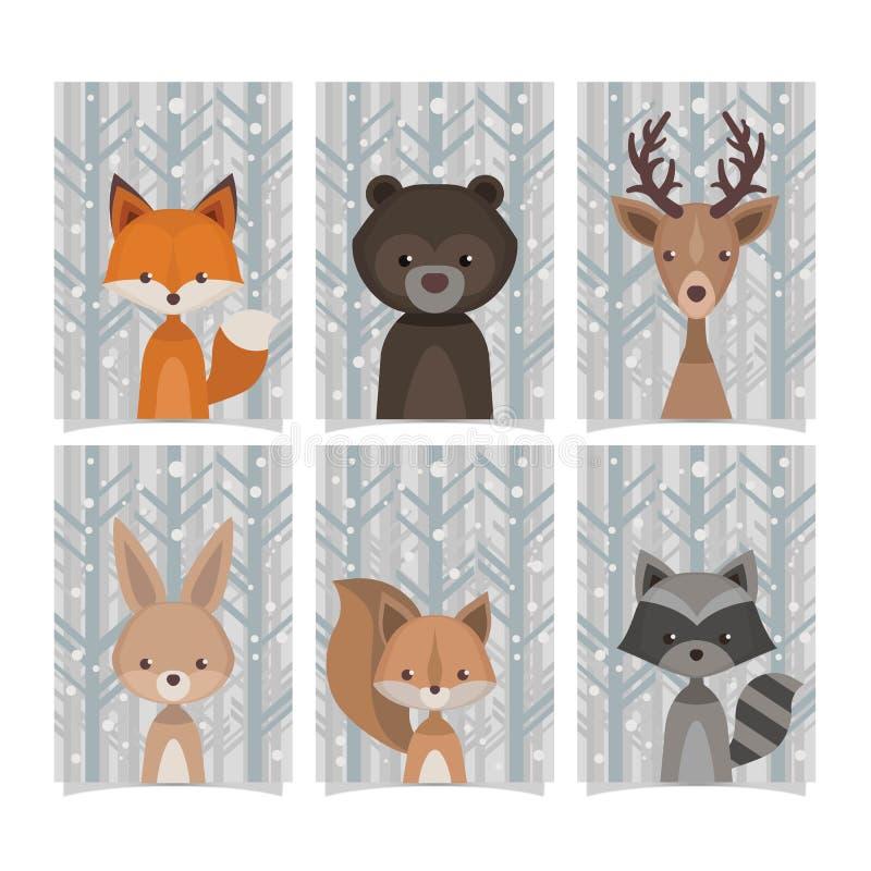 Älskvärd stil för tappning för samlingsskogdjur royaltyfri illustrationer