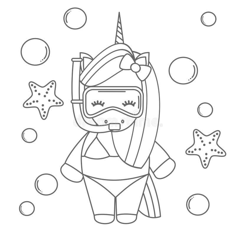 Älskvärd svartvit sommarenhörning för gullig tecknad film som snorklar med att dyka maskeringen i den roliga vektorillustrationen stock illustrationer