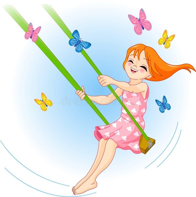 älskvärd swing för flicka vektor illustrationer