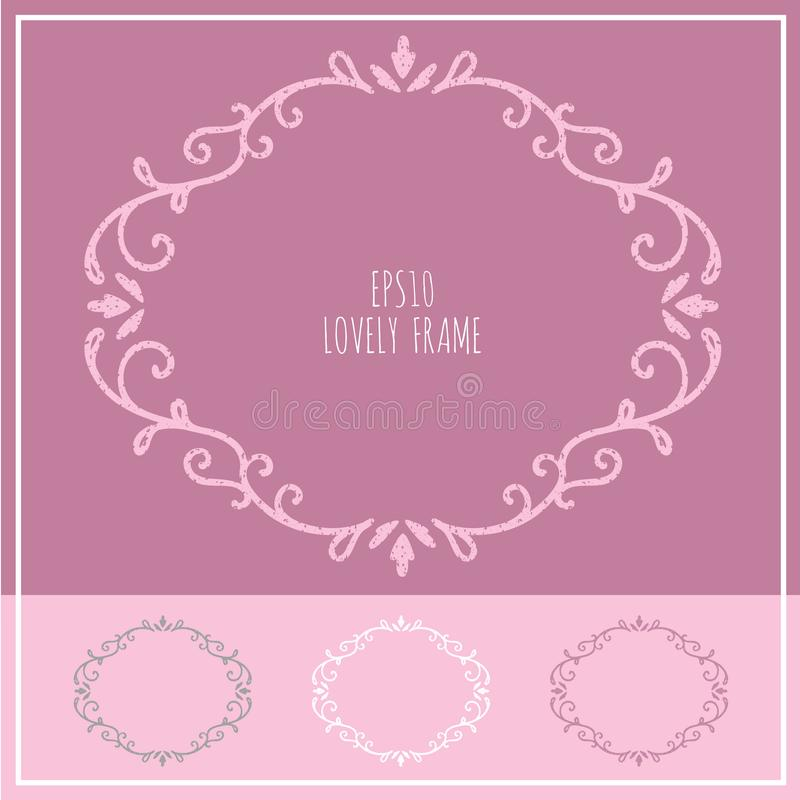 Älskvärd tappningram 03 - kvinnlig elegant blom- design stock illustrationer