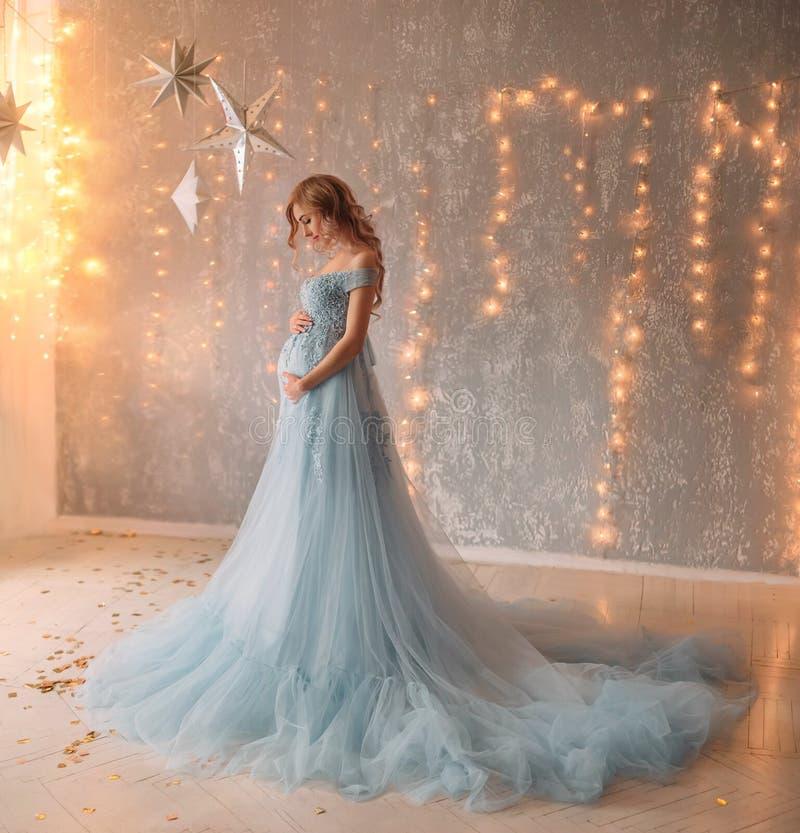 Älskvärd ung gravid kvinna i en härlig klänning arkivfoton