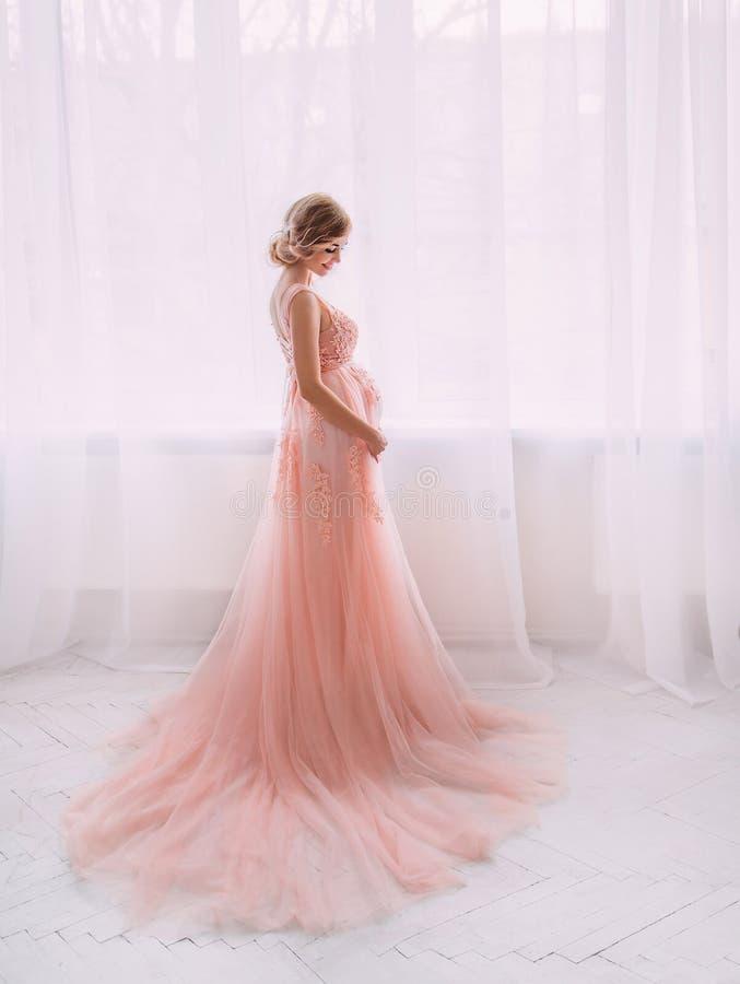 Älskvärd ung gravid kvinna i en härlig klänning arkivfoto