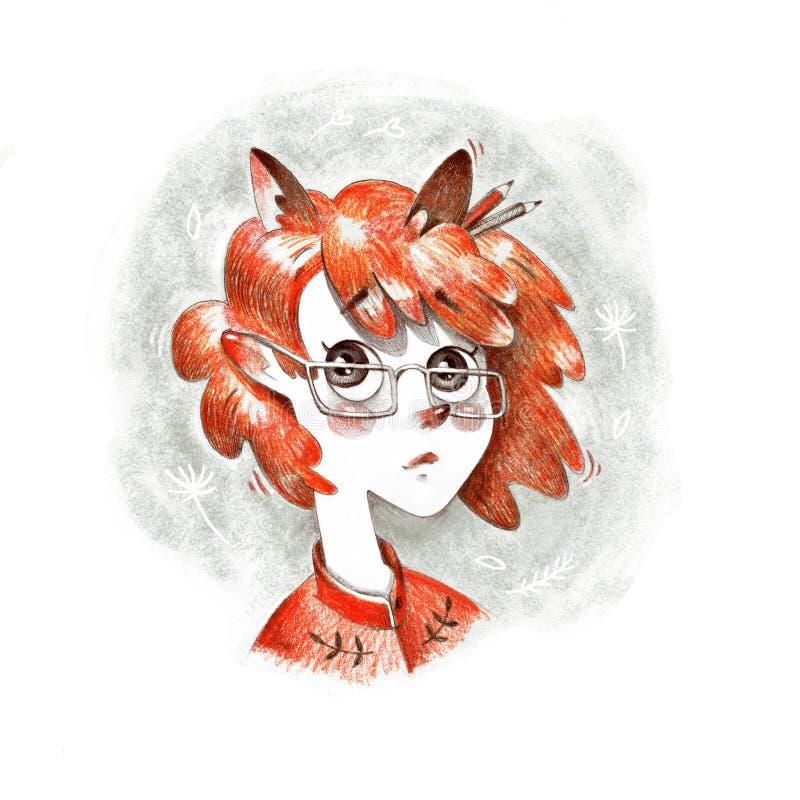Älskvärd ung röd kvinnlig elevrepresentant i exponeringsglas med för blyertspennaillustration för rävaktiga öron den konstnärliga stock illustrationer