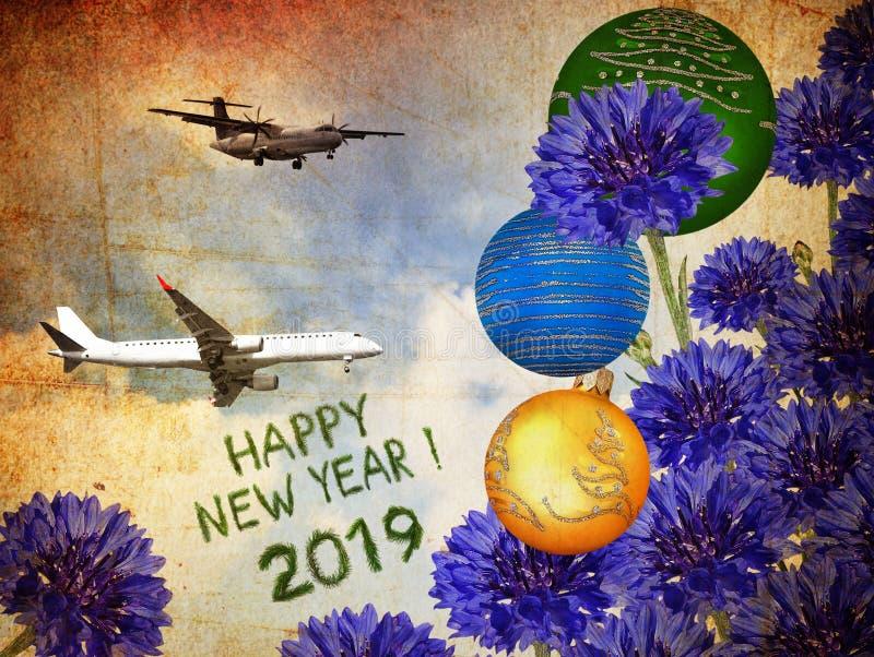 2019 älskvärda bukett för lyckligt nytt år Feriefligt royaltyfri illustrationer