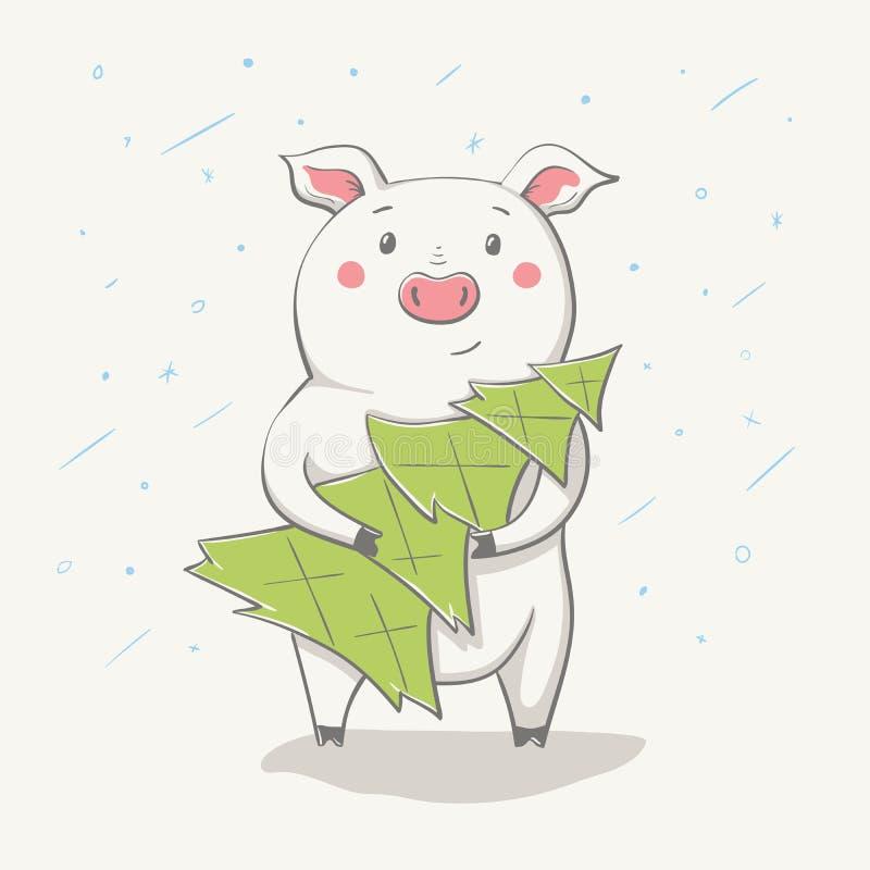 Älskvärda gulliga gladlynta piggy går med julgranen Kort med tecknad filmdjuret royaltyfri illustrationer