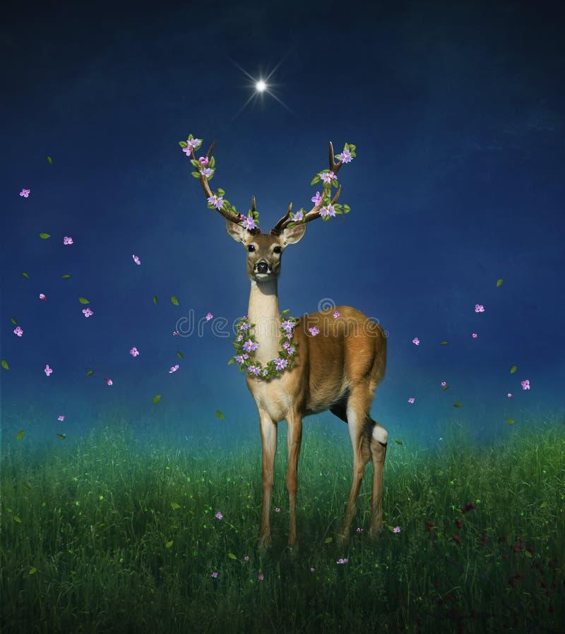 Älskvärda hjortar med blommor på hans horn på natten stock illustrationer