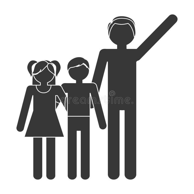 älskvärda konturfamiljfader och barn royaltyfri illustrationer