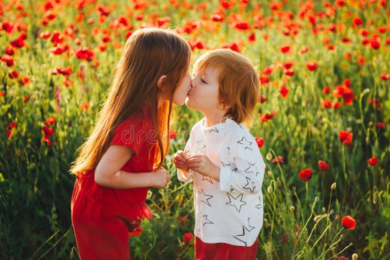 Älskvärda rödhåriga barn i ett fält av röda vallmo royaltyfri bild
