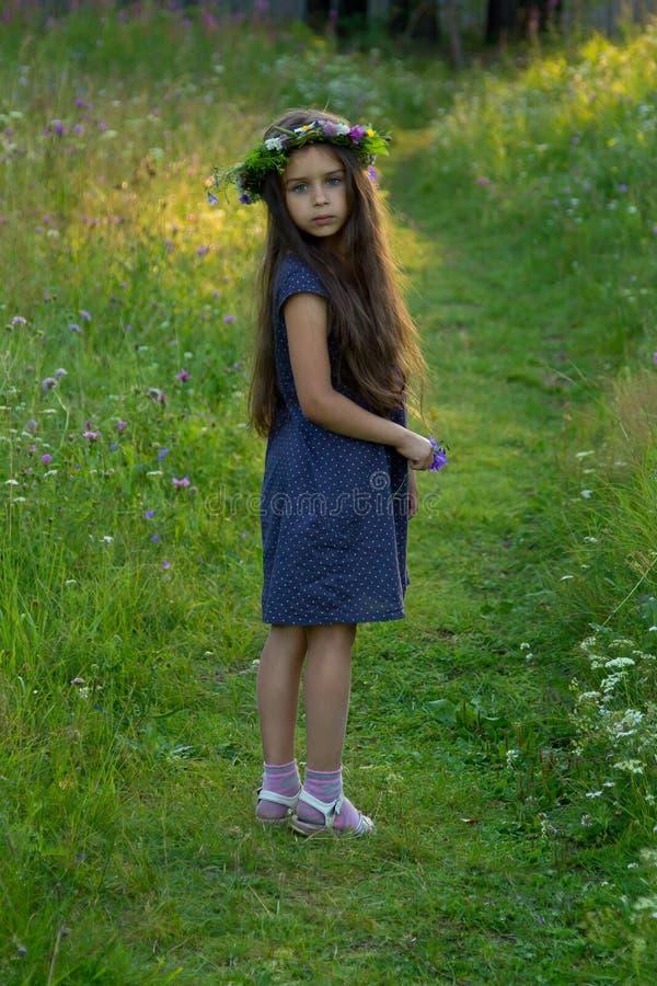 Älskvärda små behandla som ett barn flickan med blommakransen på hennes huvud royaltyfri bild