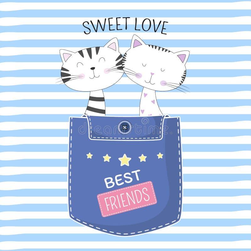 Älskvärda två katter i fack med söt förälskelse för text på blå bakgrund stock illustrationer