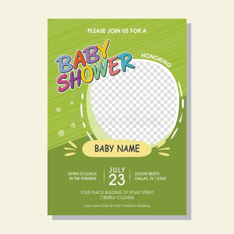 Älskvärt baby showerinbjudankort med tecknad filmstil stock illustrationer