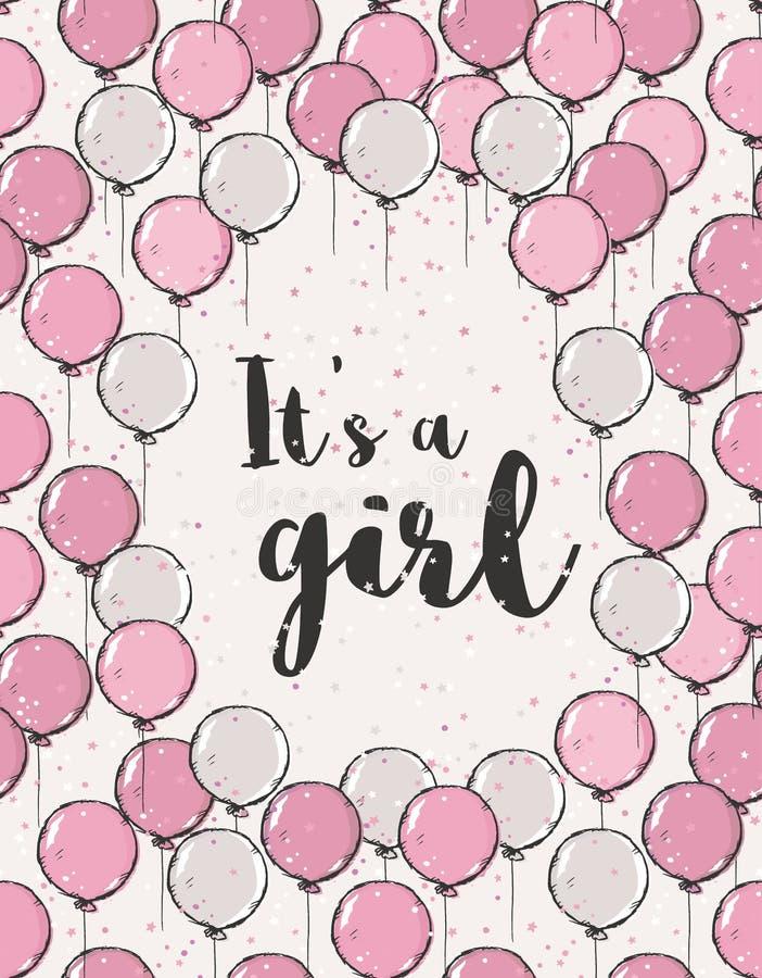 Älskvärt baby showervektorkort Det är en flickaillustration med rosa och beigea luftballonger för flyget stock illustrationer