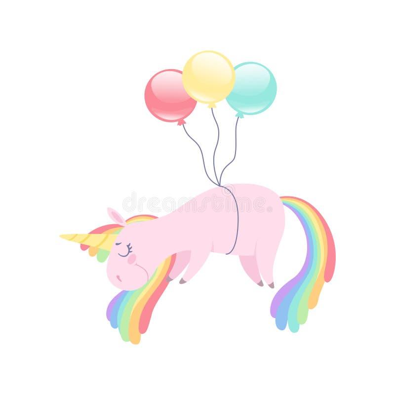 Älskvärt enhörningflyg med färgrika ballonger, djurt tecken för gullig fantasi med illustrationen för regnbågehårvektor på a royaltyfri illustrationer