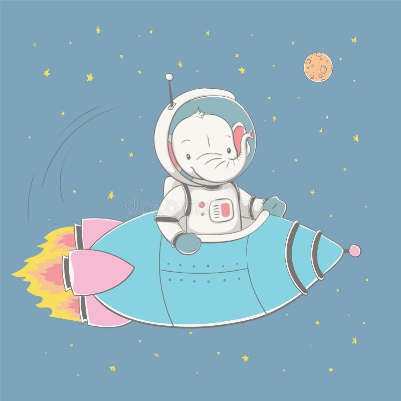 Älskvärt gulligt behandla som ett barn elefantflyg i raket i utrymmet Utrymmeserie av barns kort royaltyfri illustrationer