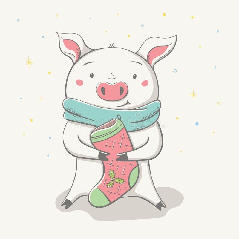 Älskvärt gulligt gladlynt piggy sitter i halsduk med julsockan royaltyfri illustrationer