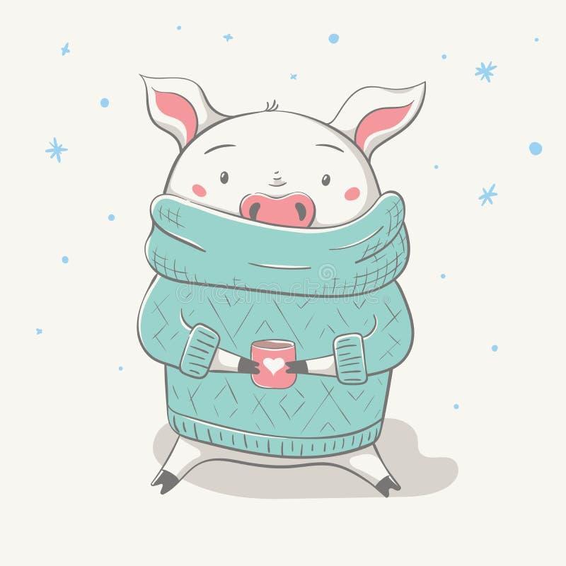 Älskvärt gulligt gladlynt piggy sitter i tröja eller ärmlös tröja med koppen och hjärta royaltyfri illustrationer
