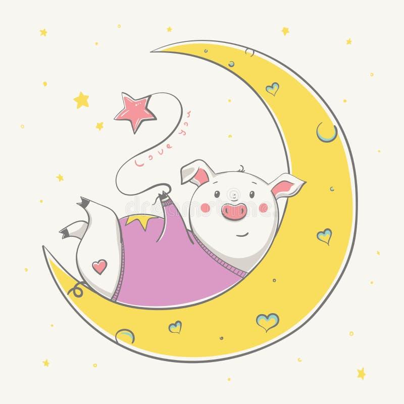 Älskvärt gulligt gladlynt piggy vila på månen med ballongstjärnan valentin för form för korthjärtaförälskelse royaltyfri illustrationer