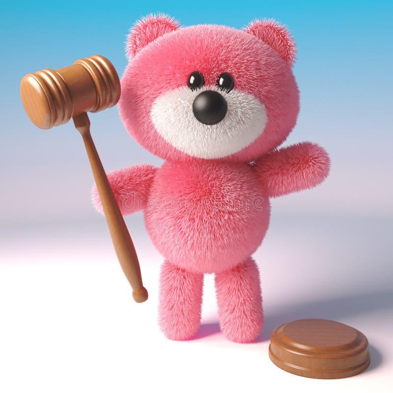 Älskvärt rosa fluffigt tecken för nallebjörn som rymmer en auktionauktionsklubba, illustration 3d royaltyfri illustrationer