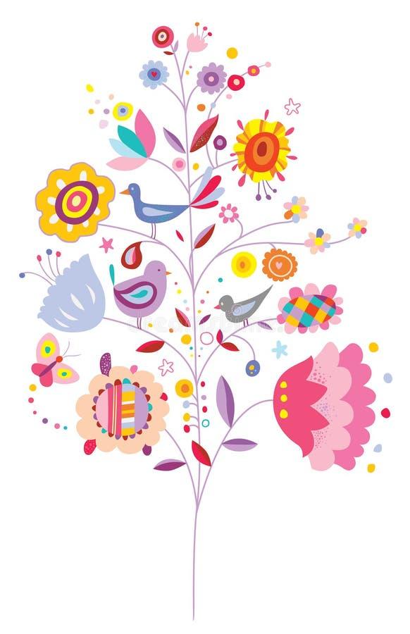 Älskvärt träd med blommor och fåglar vektor illustrationer