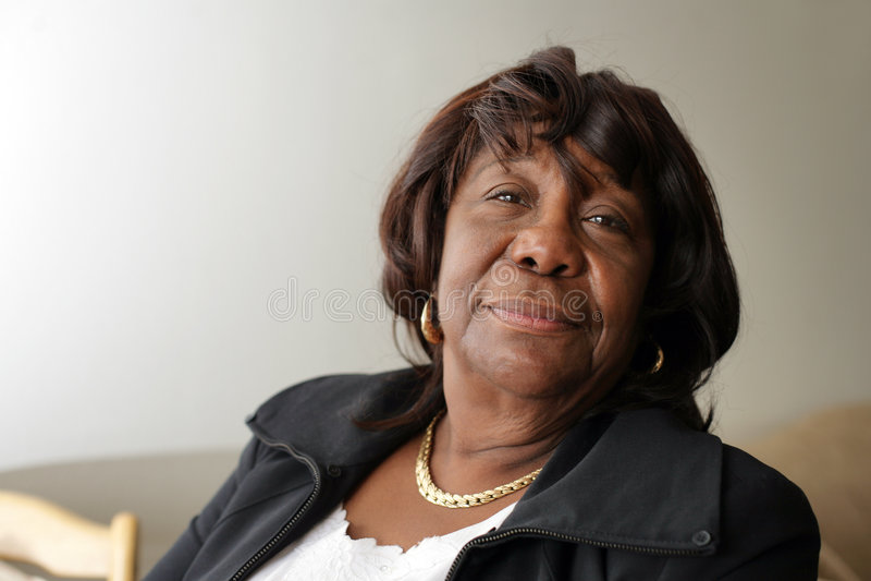 Ältere Afroamerikanerfrau stockbild