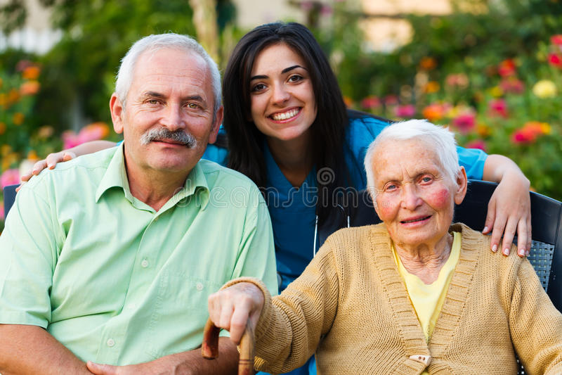 Ältere Besuchspatienten stockbilder