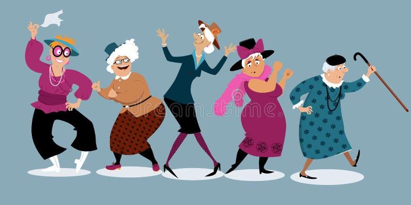 Ältere Damen, die Spaß haben lizenzfreie abbildung