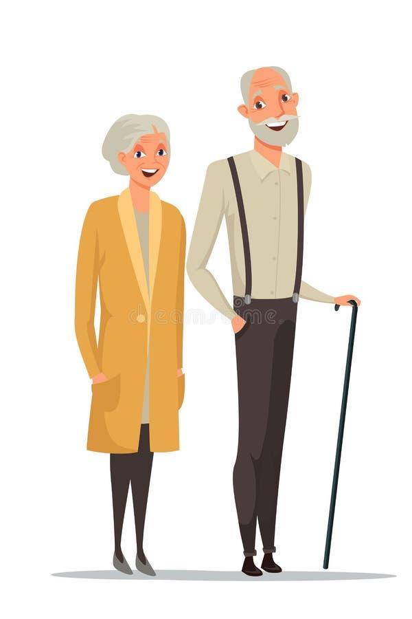 Ältere der Paare Vektorillustration zusammen Farb lizenzfreie abbildung