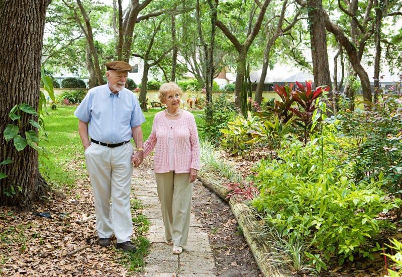 Ältere, die zusammen gehen stockbilder